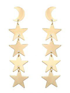 Moon Star Shape Tassel Design Earrings - Gold