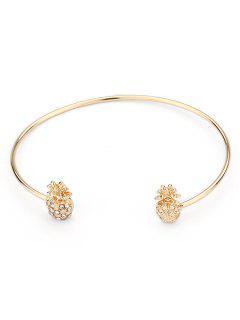 Bracelet Manchette Minimaliste En Forme D'Ananas - Or