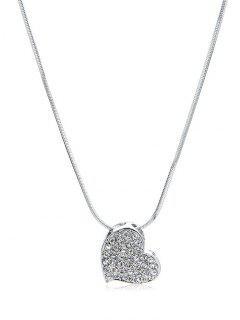 Rhinestone Inlaid Heart Shape Pendant Necklace - Silver