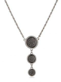Round Shape Pendant Sweater Chain - Silver