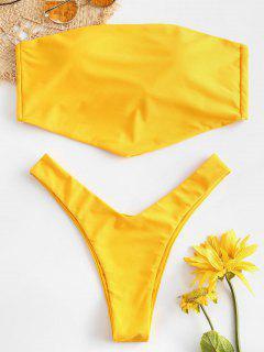ZAFUL Tie Back Asymmetrical Bandeau Bikini Set - Bright Yellow L