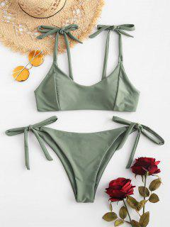 ZAFUL Ensemble De Bikini Noué à Taille Basse - Vert Camouflage L