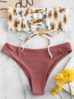 ZAFUL Sunflower Lace-up Smocked Bikini Set - Rosy Finch S