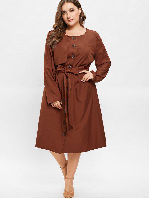 online ZAFUL Plus Size Midi Shirt Dress with Belt - BROWN 1X Mobile