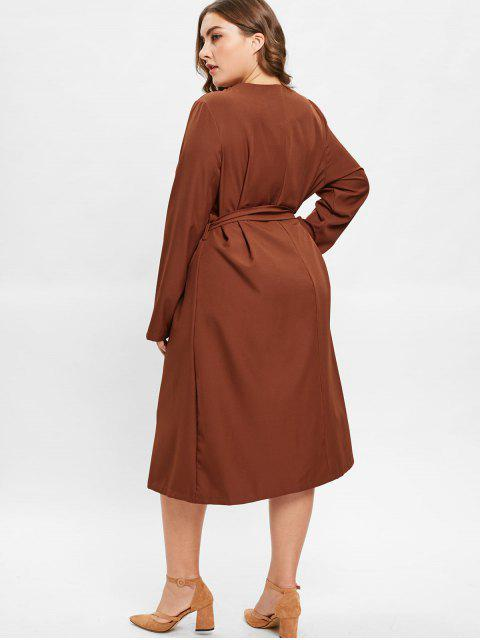 shop ZAFUL Plus Size Midi Shirt Dress with Belt - BROWN 2X Mobile