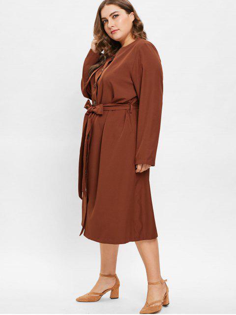 ZAFUL Robe Chemise Mi-Longue Grande Taille avec Ceinture - Brun 4X Mobile