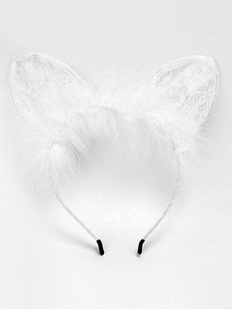 latest Cat Ears Shape Feather Hair Accessories - WHITE  Mobile