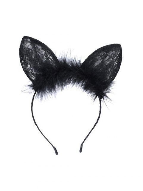 fancy Cat Ears Shape Feather Hair Accessories - BLACK  Mobile