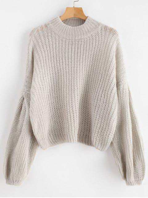 new Loose Knit Balloon Sleeve Sweater - GRAY GOOSE ONE SIZE Mobile