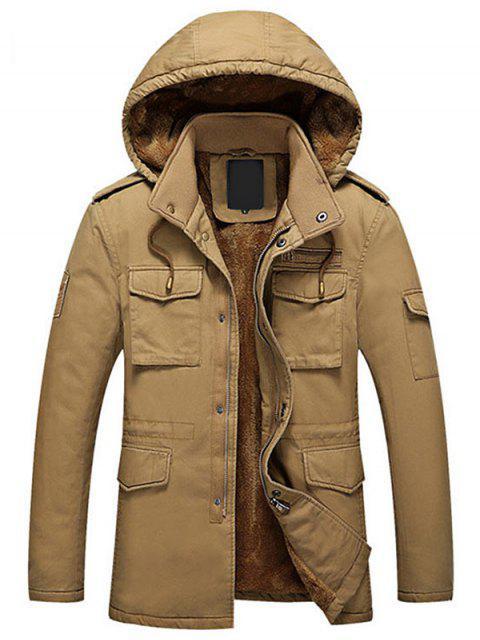 fashion Hooded Flocking Zipper Jacket - DARK KHAKI XL Mobile