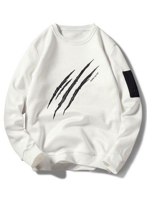 affordable Claws Mark Print Pullover Sweatshirt - WHITE M Mobile