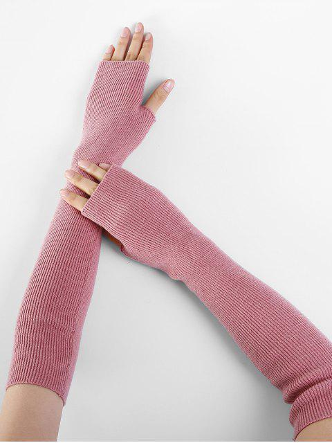 women's Solid Color Fingerless Arm Warmers - PINK  Mobile