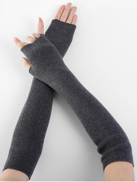 lady Solid Color Fingerless Arm Warmers - CARBON GRAY  Mobile