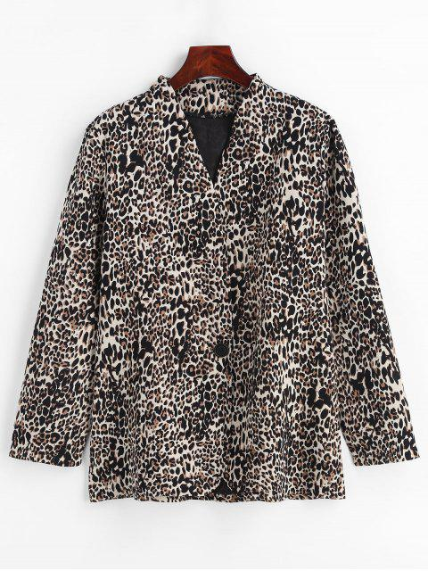 new Lapelless Leopard Print Blazer - LEOPARD M Mobile