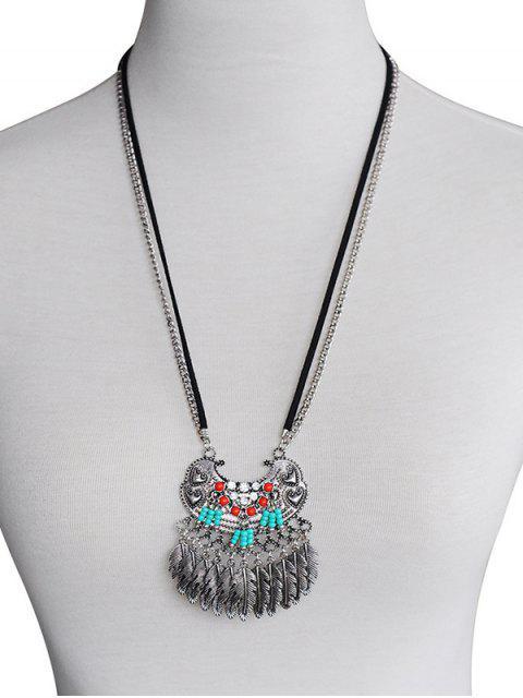 latest Feather Tassel Design Alloy Pendant Necklace - SILVER  Mobile