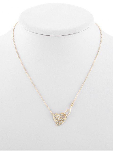 women's Rhinestone Hollow Out Heart Design Necklace - GOLD  Mobile
