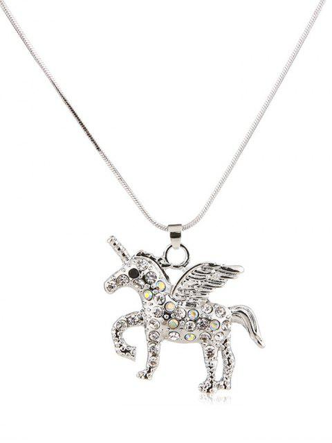ladies Faux Crystal Unicorn Design Sweater Chain - SILVER  Mobile