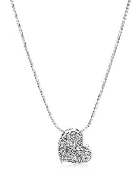 latest Rhinestone Inlaid Heart Shape Pendant Necklace - SILVER  Mobile