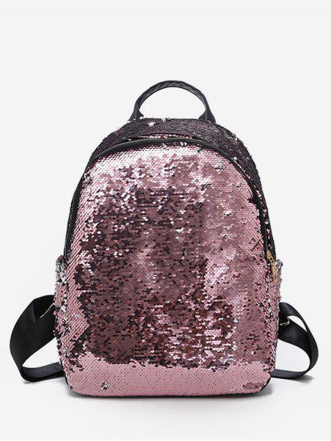 buy Paillette Solid Color Design Travel Backpack - LIGHT PINK  Mobile
