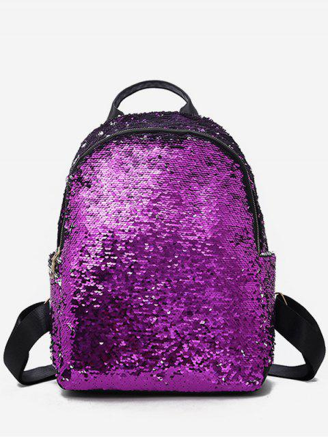 lady Paillette Solid Color Design Travel Backpack - TYRIAN PURPLE  Mobile