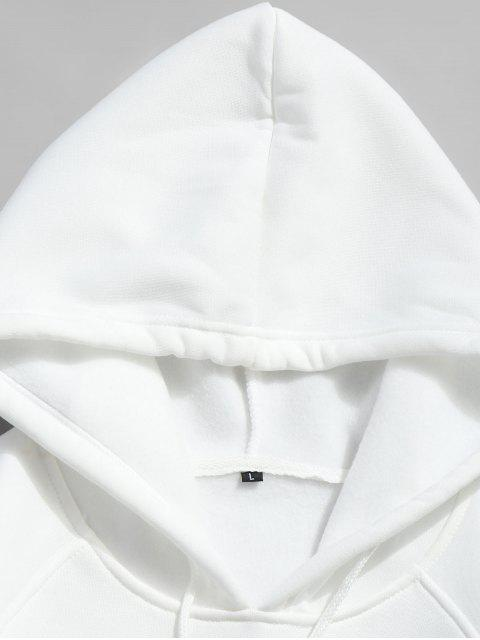 hot Basic Solid Pouch Pocket Fleece Hoodie - WHITE 2XL Mobile