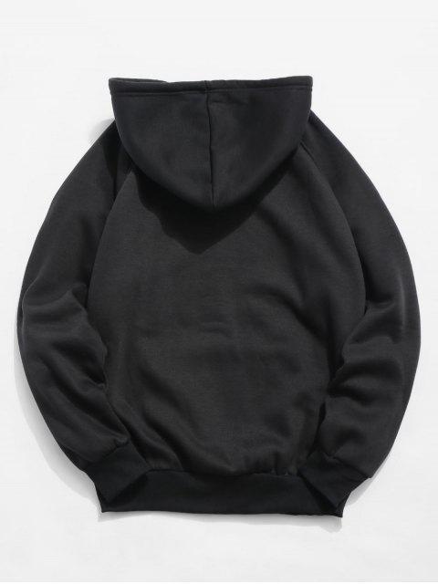 shop Basic Solid Pouch Pocket Fleece Hoodie - BLACK XL Mobile