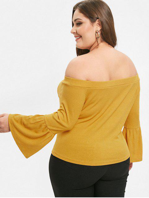 outfits ZAFUL Flare Sleeve Plus Size Off Shoulder Tee - BEE YELLOW 3X Mobile
