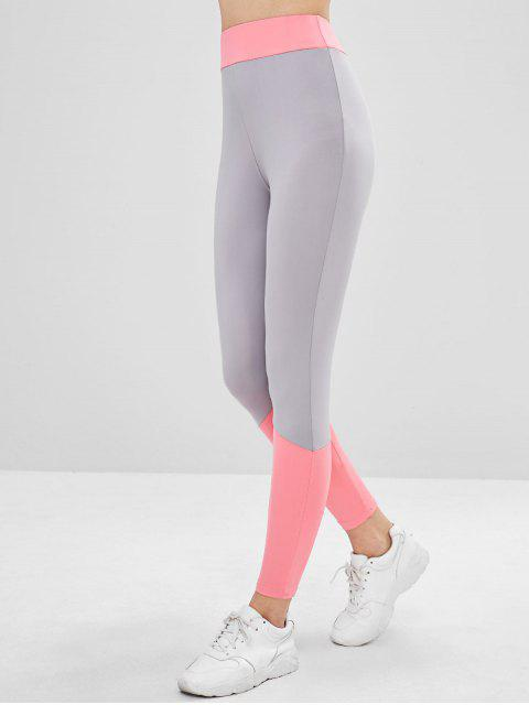 shop Two Tone High Waisted Ninth Leggings - MULTI M Mobile