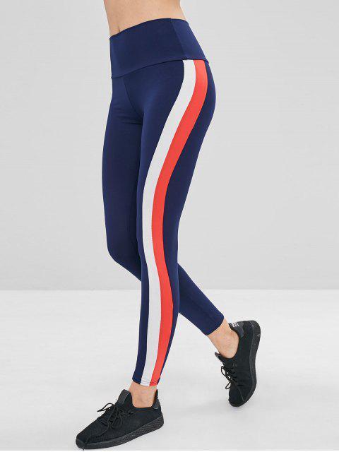 buy High Waisted Stripes Leggings - CADETBLUE L Mobile