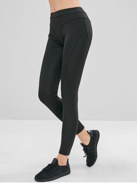 best Mid Rise Ninth Plain Leggings - BLACK M Mobile