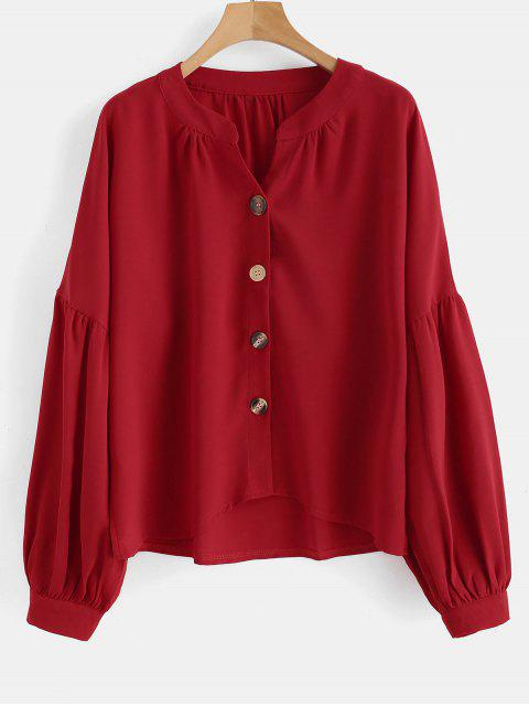 fashion Button Up V Neck Blouse - RED M Mobile