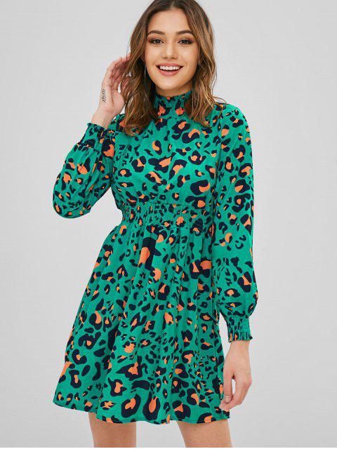 hot Smocked Leopard Long Sleeve Mini Dress - MULTI-A M Mobile