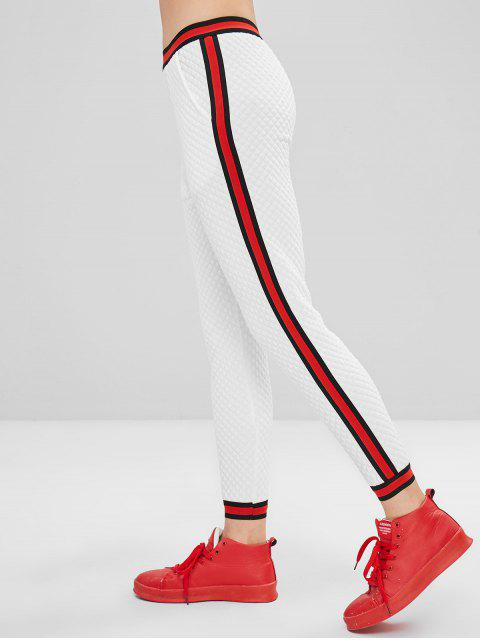 best Ninth Stripes Panel Pants - WHITE M Mobile