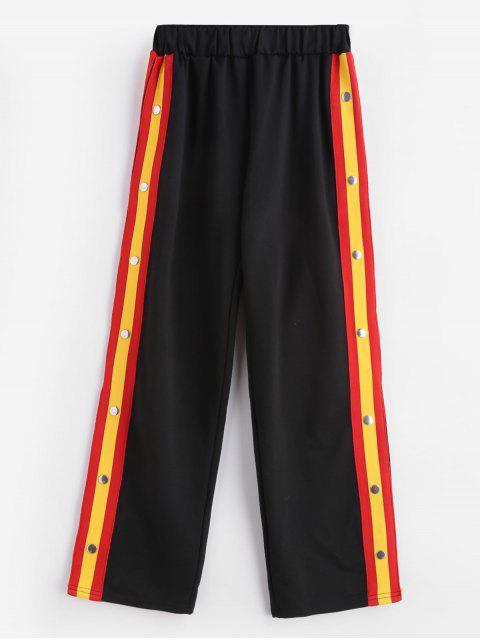 shops Contrast Slit Side Rivet Casual Pants - BLACK XL Mobile