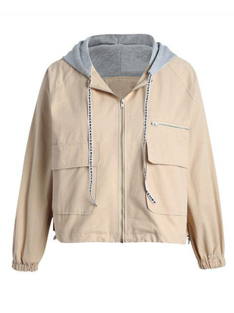 women's Plus Size Back Patched Hooded Jacket - VANILLA 1X Mobile
