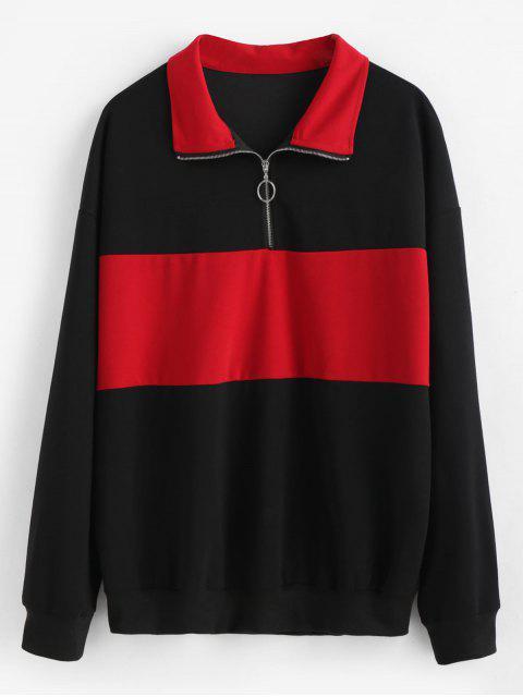 Farbblock Plus Size Sweatshirt - Schwarz 2X Mobile