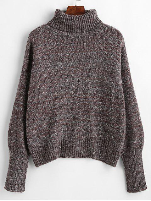 affordable Drop Shoulder Turtleneck Heathered Sweater - MULTI ONE SIZE Mobile