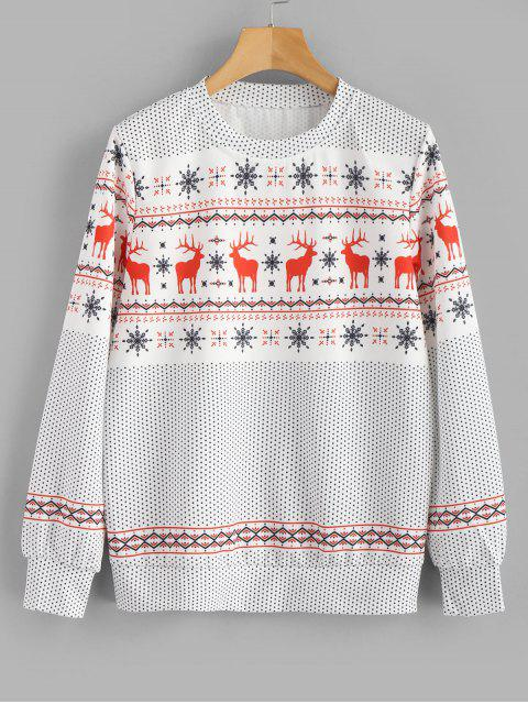 shop Elk Snowflake Christmas Sweatshirt - WHITE L Mobile