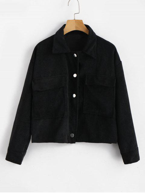 outfit Single Breasted Corduroy Jacket - BLACK ONE SIZE Mobile