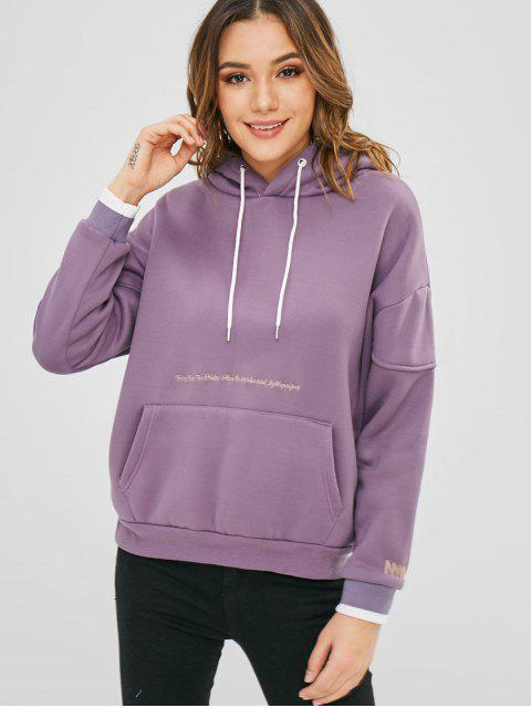Stickerei lose Fleece Hoodie - Glyzinie Lila L Mobile