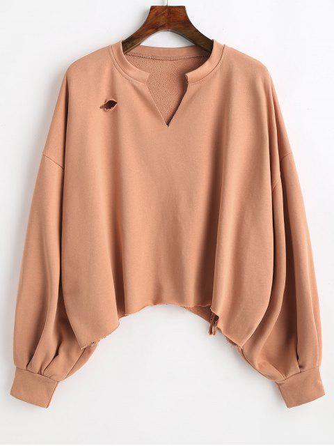 Rohes Sweatshirt mit Saumausschnitt - Dunkler Salm L Mobile