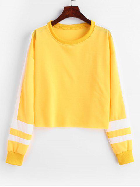 Sudadera Casual Color Block Crop - Amarillo Brillante S Mobile