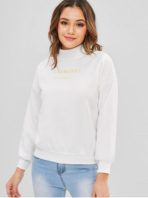 Drop Schulter Mock Neck besticktes Sweatshirt - Weiß XL Mobile