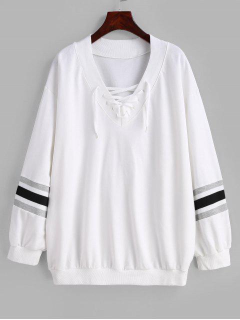 Sweat-shirt Rayé à Col V à Lacets - Blanc Taille Unique Mobile