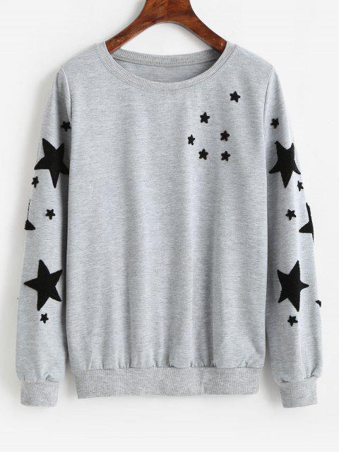 Star Graphic Pullover Lässiges Sweatshirt - Grau M Mobile