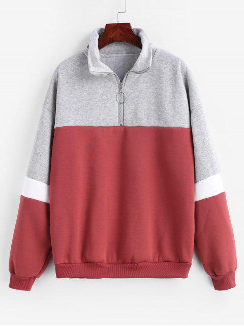 Viertel-Reißverschluss-Fleece-Sweatshirt mit Farbblock - Multi-A 2XL Mobile