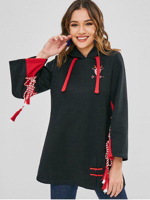 Sudadera con capucha bordada con cordones - Negro M Mobile