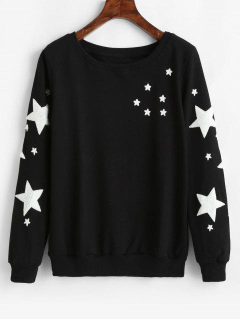 Star Graphic Pullover Lässiges Sweatshirt - Schwarz 2XL Mobile