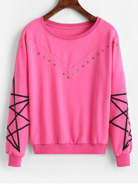 Tropfen Schulter Rivet Print Sweatshirt - Helles Rosa 2XL Mobile