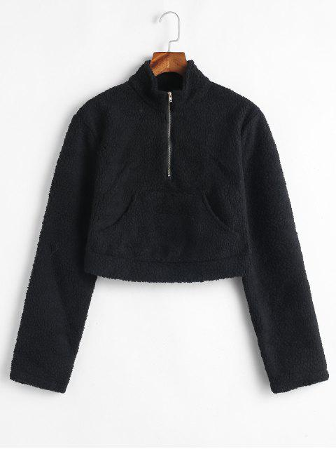 Känguru Pocket Crop Fluffy Sweatshirt - Schwarz S Mobile